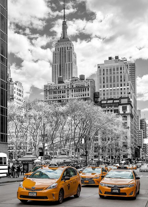 Empire State Building Greeting Card featuring the photograph City Of Cabs by Az Jackson