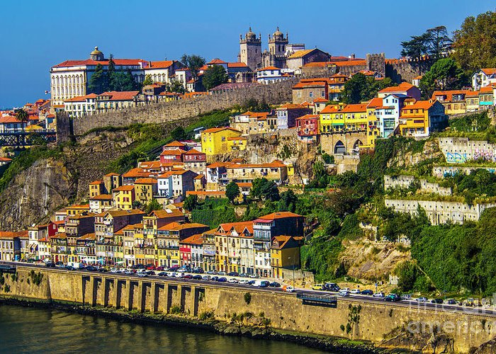 Porto Greeting Card featuring the photograph City On A Hillside by Roberta Bragan