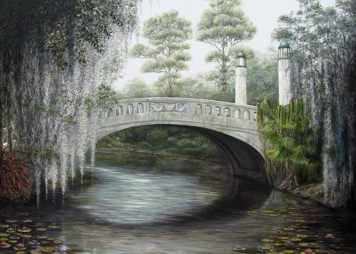 Bridge Greeting Card featuring the painting City Park Bridge by Judy Merrell