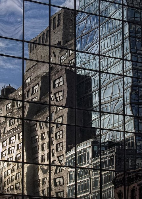 Architectural Detail Greeting Card featuring the photograph City Reflections by Robert Ullmann