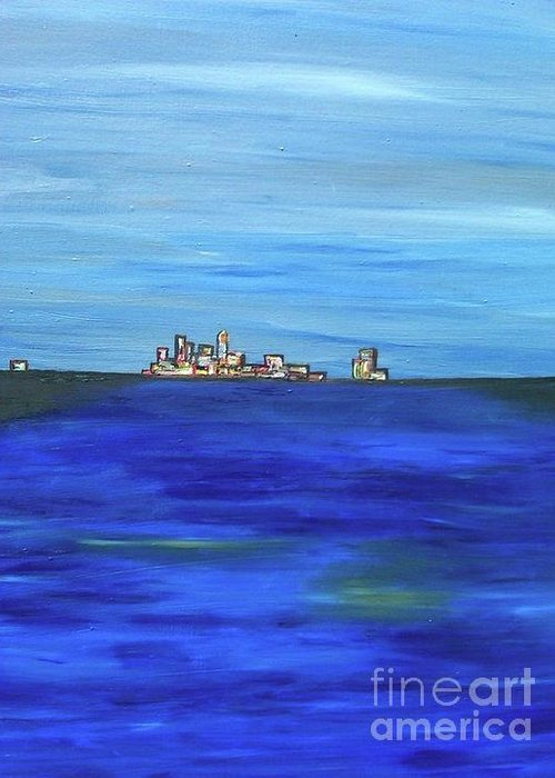 The Artist Renders Images And Imaginations From His Youthful Days In Hawaii. Greeting Card featuring the painting City View by Jazmine Gallery