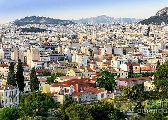 Athens Greeting Card featuring the photograph City View Of Old Buildings In Athens, Greece by Otto