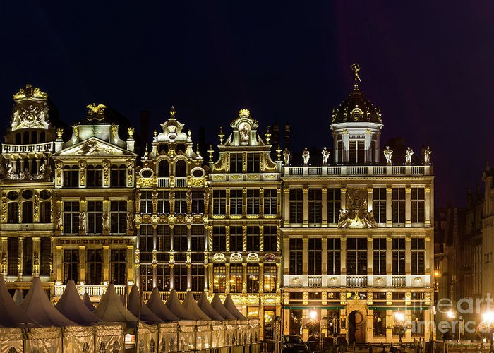 Landmark Greeting Card featuring the photograph Cityscape In Brussels Europe - Landmark Of Brussels, Belgium by Otto