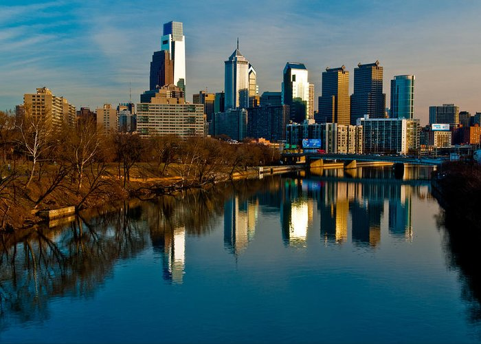 Photography Greeting Card featuring the photograph Cityscape Of Philadelphia Pa by Louis Dallara