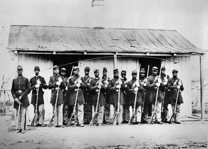 1860s Greeting Card featuring the photograph Civil War: Black Troops by Granger