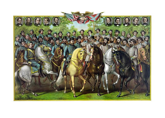 Civil War Greeting Card featuring the painting Civil War Generals And Statesman by War Is Hell Store