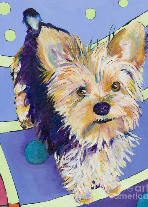 Pet Portraits Greeting Card featuring the painting Claire by Pat Saunders-White