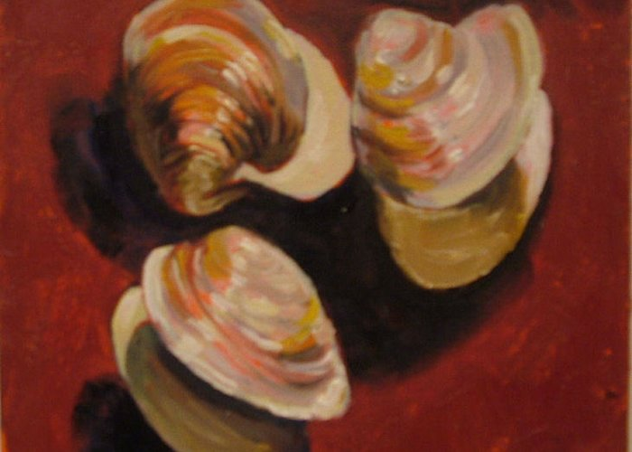 Clam Shells Greeting Card featuring the painting Clam Shells by Hillary Gross