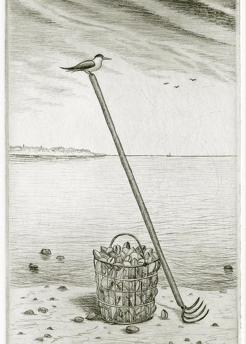 Charles Harden Greeting Card featuring the drawing Clamming by Charles Harden