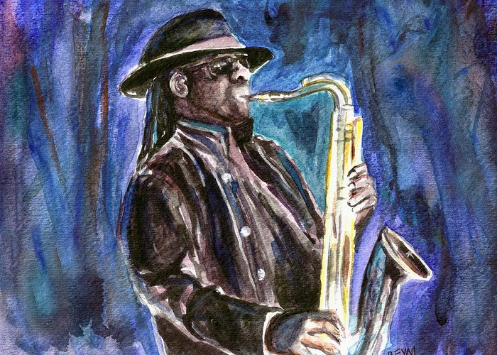 Clarence Clemons Greeting Card featuring the painting Clarence Clemons by Clara Sue Beym