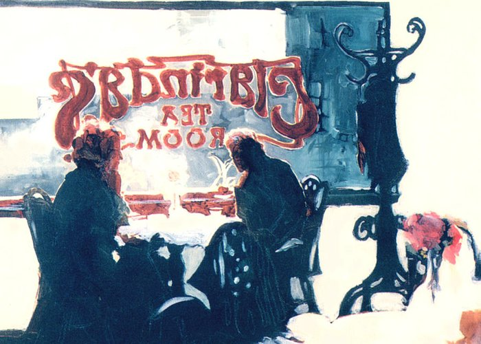 Tea Greeting Card featuring the painting Clarinda's Tea Room by Linda Crockett