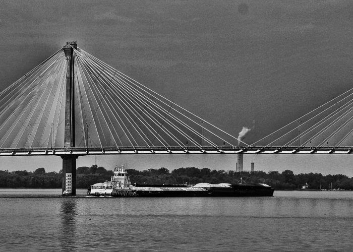 Clark Bridge Greeting Card featuring the photograph Clark Bridge And Barges In Black And White by Buck Buchanan