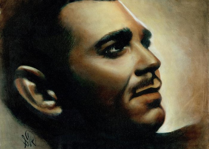 Portrait Greeting Card featuring the painting Clark Gable by Elizabeth Silk