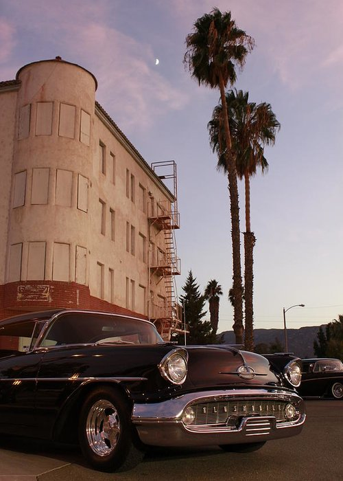 Car Chrysler Wheels Hotel Lake-elsinore Car-show Street Palm Tree Sun-set Greeting Card featuring the photograph Classic At Sunset by Lawrence Costales
