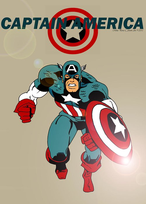 Captain America Greeting Card featuring the drawing Classic Captain America by Mista Perez Cartoon Art