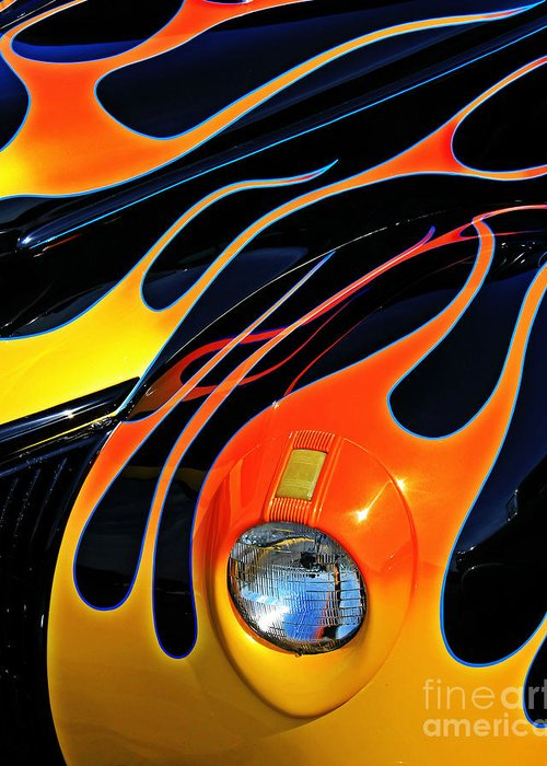 Hot Rod Greeting Card featuring the photograph Classic Flames by Perry Webster