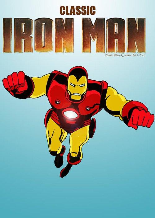 Classic Iron Man Greeting Card featuring the digital art Classic Iron Man by Mista Perez Cartoon Art