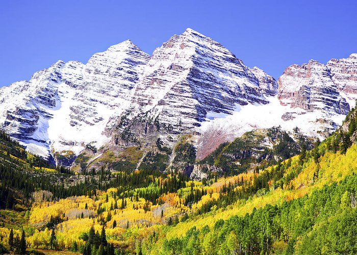 Americana Greeting Card featuring the photograph Classic Maroon Bells by Marilyn Hunt