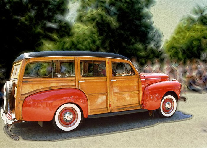 Classic Automobile Greeting Card featuring the photograph Classic Woody Station Wagon by Roger Soule