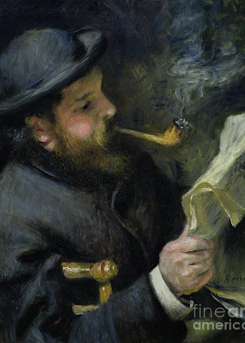 Claude Greeting Card featuring the painting Claude Monet Reading A Newspaper by Pierre Auguste Renoir