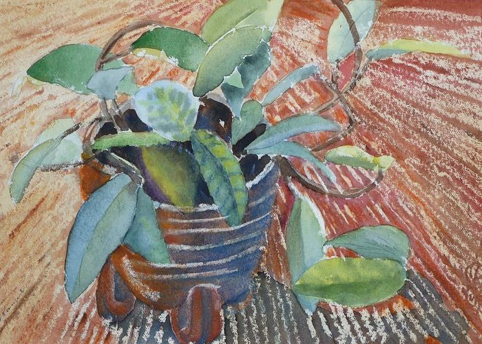 Vine Greeting Card featuring the painting Clay Pot by Ruth Kamenev
