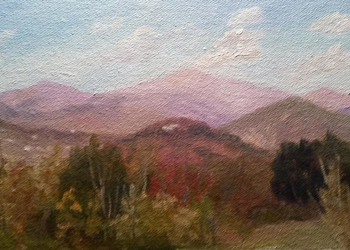 Mt. Washington Greeting Card featuring the painting Clear September Afternoon by Sharon E Allen