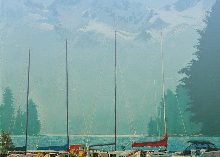 Alaska Greeting Card featuring the painting Clearing Mist by Robert Bissett
