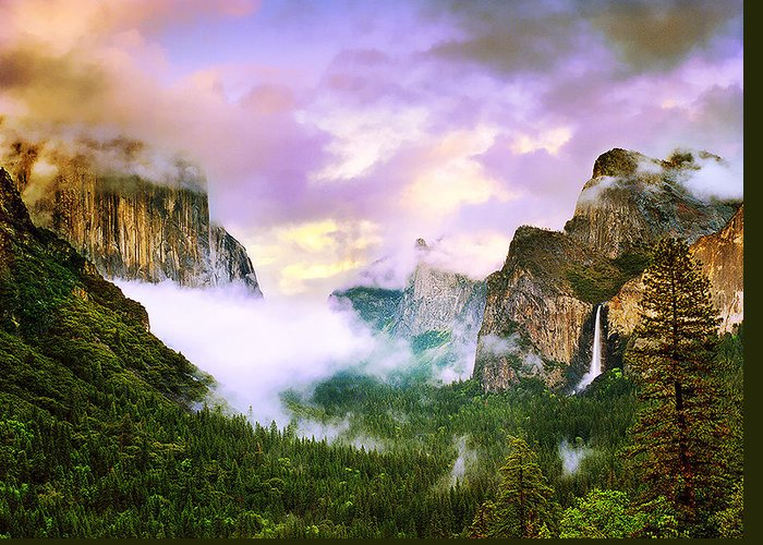 'clearing Storm Over Yosemite Valley' Greeting Card featuring the photograph Clearing Storm Over Yosemite Valley by Edward Mendes