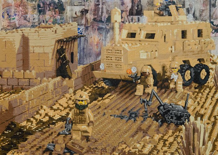 Lego Greeting Card featuring the painting Clearing The Road- Kandahar Province Afghanistan by Josh Bernstein