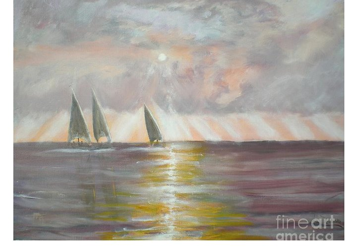 Seascape Greeting Card featuring the painting Clearwater by Hal Newhouser