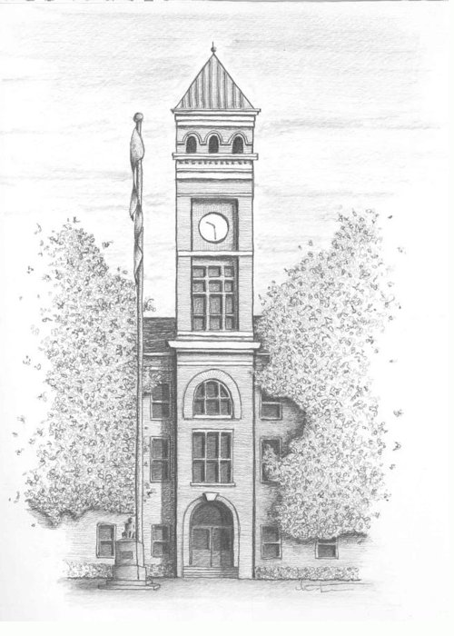 Architectural Rendering Greeting Card featuring the drawing Clemson University's Tillman Hall by Kristen Stevenson