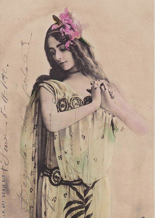 Cleo Greeting Card featuring the photograph Cleo De Merode by Reutlingers