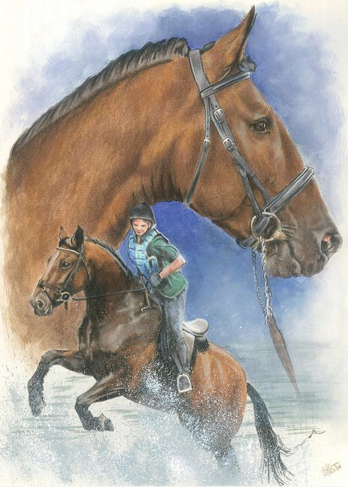 Hunter Jumper Greeting Card featuring the mixed media Cleveland Bay by Barbara Keith
