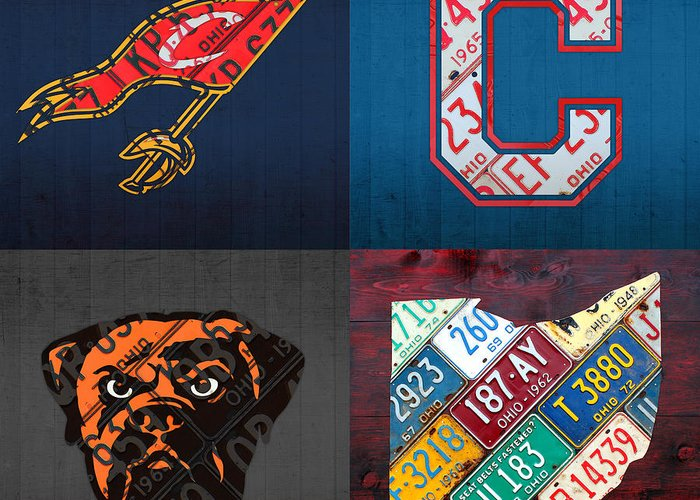 License Plate State Map.Cleveland Sports Fan Recycled Vintage Ohio License Plate Art