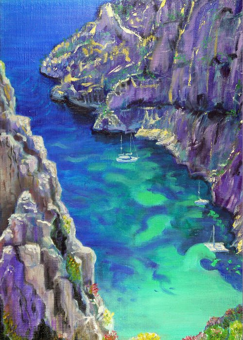 Seascape Greeting Card featuring the painting Cliff by Aymeric NOA