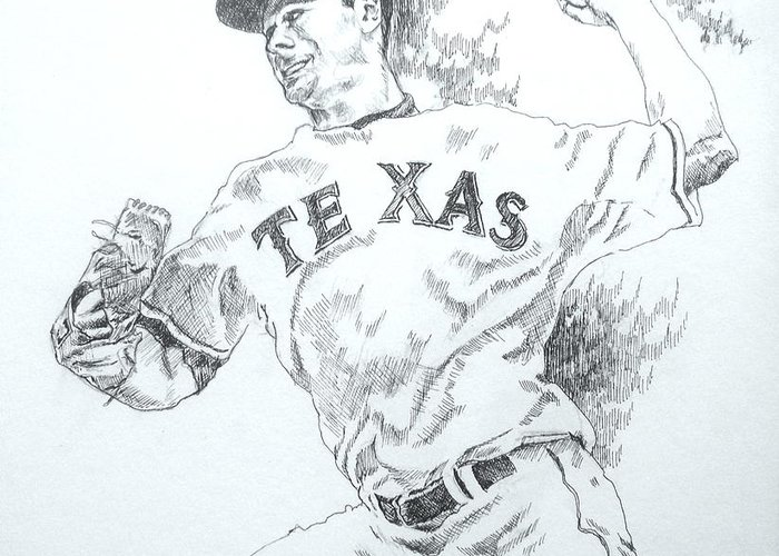 Cliff Lee Greeting Card featuring the drawing Cliff Lee by Otis Cobb
