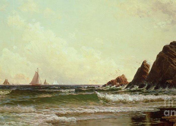 Cliffs At Cape Elizabeth Greeting Card featuring the painting Cliffs At Cape Elizabeth by Alfred Thompson Bricher