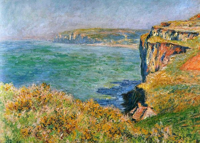 Claude Monet - Cliffs Near Pourville - 1882 Greeting Card featuring the digital art Cliffs Near Pourville by Mark Carlson
