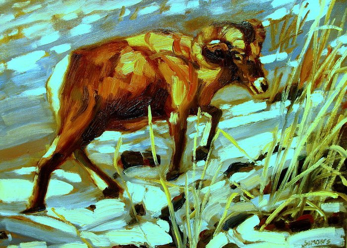 Animal Paintings Greeting Card featuring the painting Climbing Ram by Brian Simons