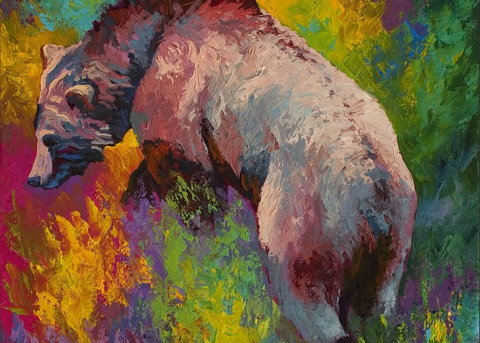 Western Greeting Card featuring the painting Climbing The Bank - Grizzly Bear by Marion Rose