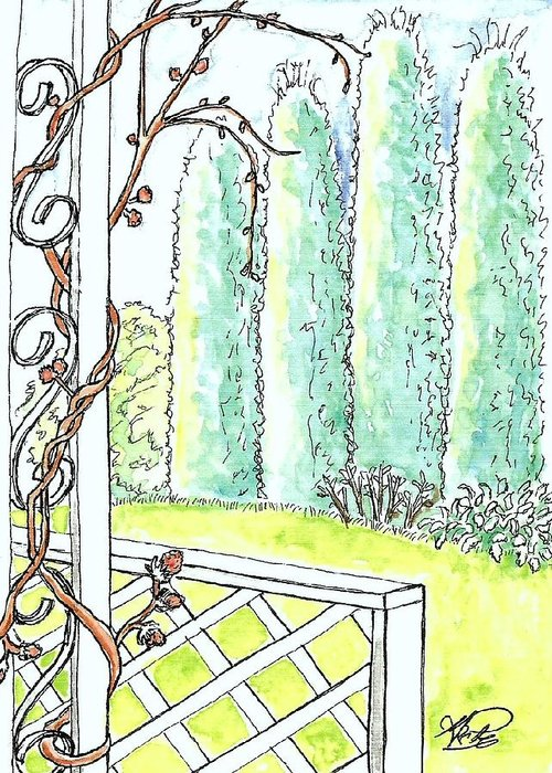 Watercolors Greeting Card featuring the painting Clinging Vine by George I Perez