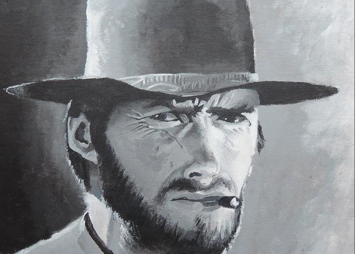 Clint Eastwood Greeting Card featuring the painting Clint by Russell Rafferty