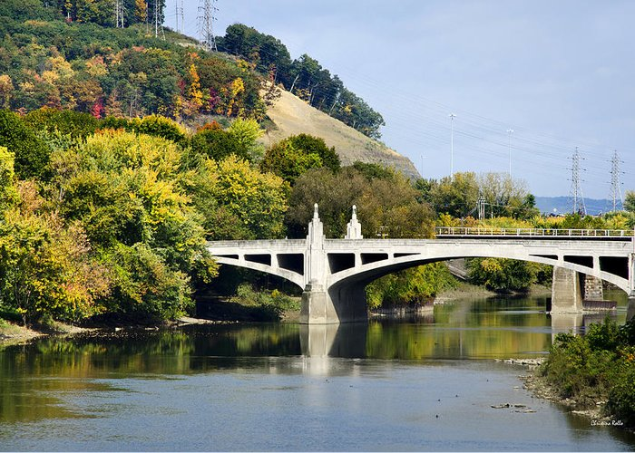 Binghamton Greeting Card featuring the photograph Clinton St. Bridge Prospect Mountain Binghamton Ny by Christina Rollo