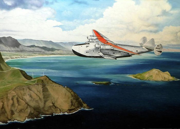 Clipper Greeting Card featuring the painting Clipper at the Makapu'u Light by Marcus Stewart