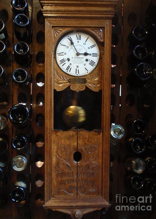 Wine Greeting Card featuring the photograph Clock Wine Rack by Valia Bradshaw