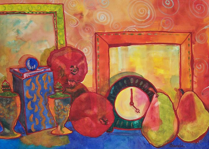 American Greeting Card featuring the painting Clock Work by Blenda Studio