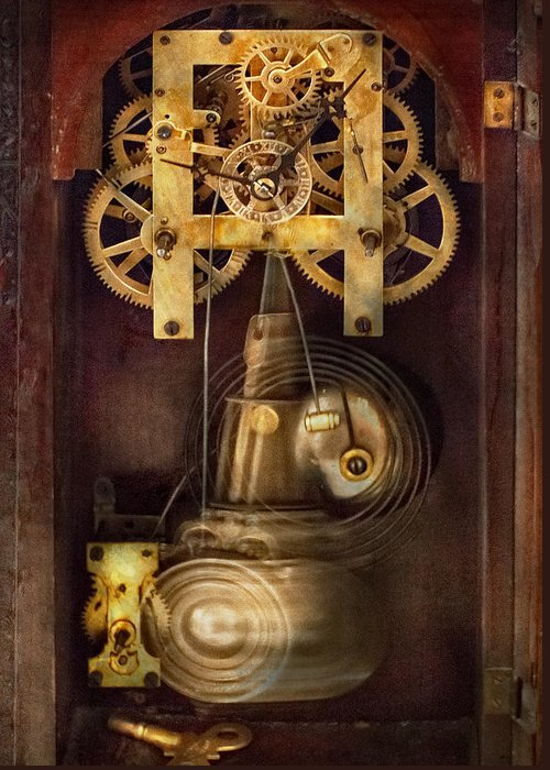 Suburbanscenes Greeting Card featuring the photograph Clockmaker - The Mechanism by Mike Savad