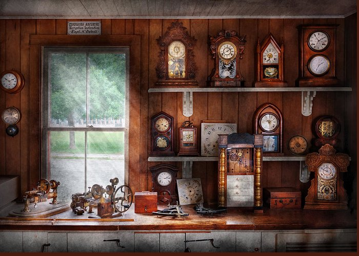 Suburbanscenes Greeting Card featuring the photograph Clocksmith - In The Clock Repair Shop by Mike Savad