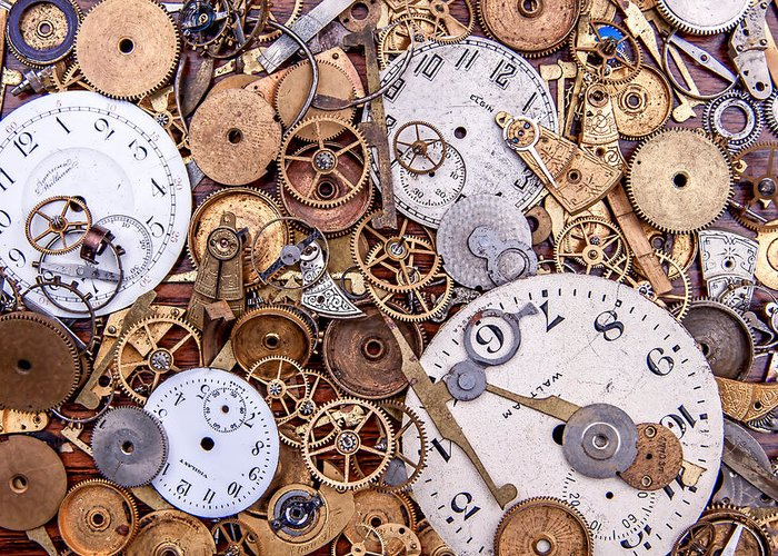 Clock Greeting Card featuring the photograph Clockworks Still Life by Tom Mc Nemar