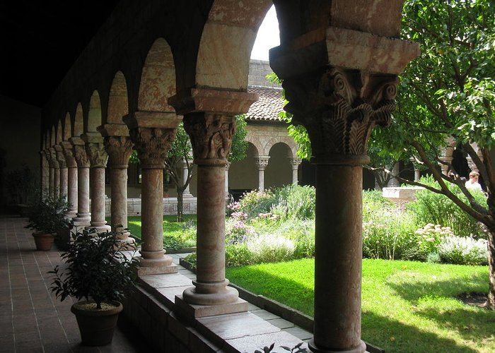 Garden Greeting Card featuring the photograph Cloister Garden by Tom Hefko